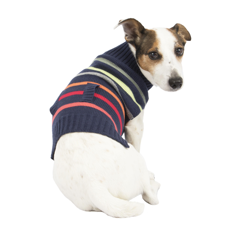 SimplyDog Navy Multi Stripe Sweater, XS