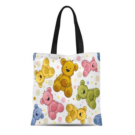 KDAGR Canvas Tote Bag Pattern Featuring Teddy Bears Cute Cartoon Clip Clipart Cutout Durable Reusable Shopping Shoulder Grocery -