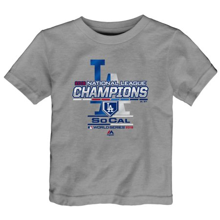 National League Champions Locker Room - Los Angeles Dodgers Majestic Toddler 2018 National League Champions Locker Room T-Shirt - Heather Gray