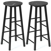Gymax Set of 2 Pub Dining Height Bar Stool Bistro Table Chairs Faux Marble Top Black