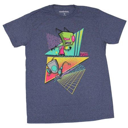 Invader Zim Mens T-Shirt - Vector Triangle Zim & Gir -