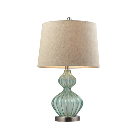 Table Lamps 1 Light With Light Green Smoke Glass and Metal Medium Base 25 inch 9.5