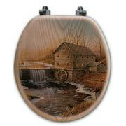 WGI-GALLERY The Old Mill Oak Round Toilet Set