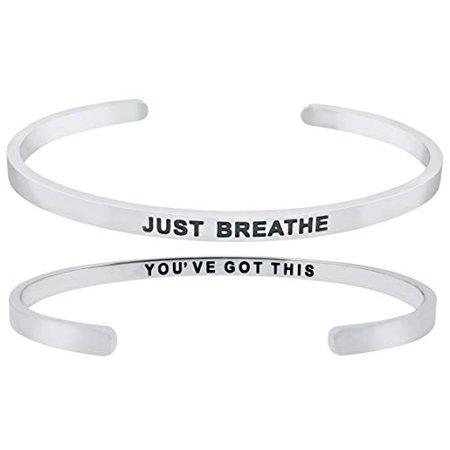 'Just Breathe, You've Got This'' Inspirational Quote Motivational Positive Message Mantra Cuff Bangle Bracelet - Motivational Bracelets