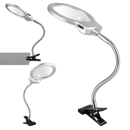 TSV Flexible 2-in-1 Magnifying Glass LED Lamp - Lighted Magnifier with Stand & Clamp - for Desk, Sewing, Table - Bright Light for Reading, Crafts - 2.5x 5x