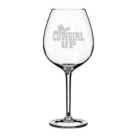 Wine Glass Goblet Cowgirl Up with Hat (20 oz Jumbo)](Jumbo Glasses)