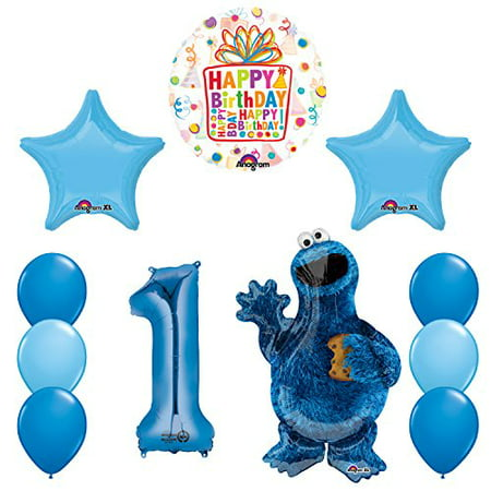 Sesame Street Cookie Monsters 1st Birthday party supplies and Balloon Decorations