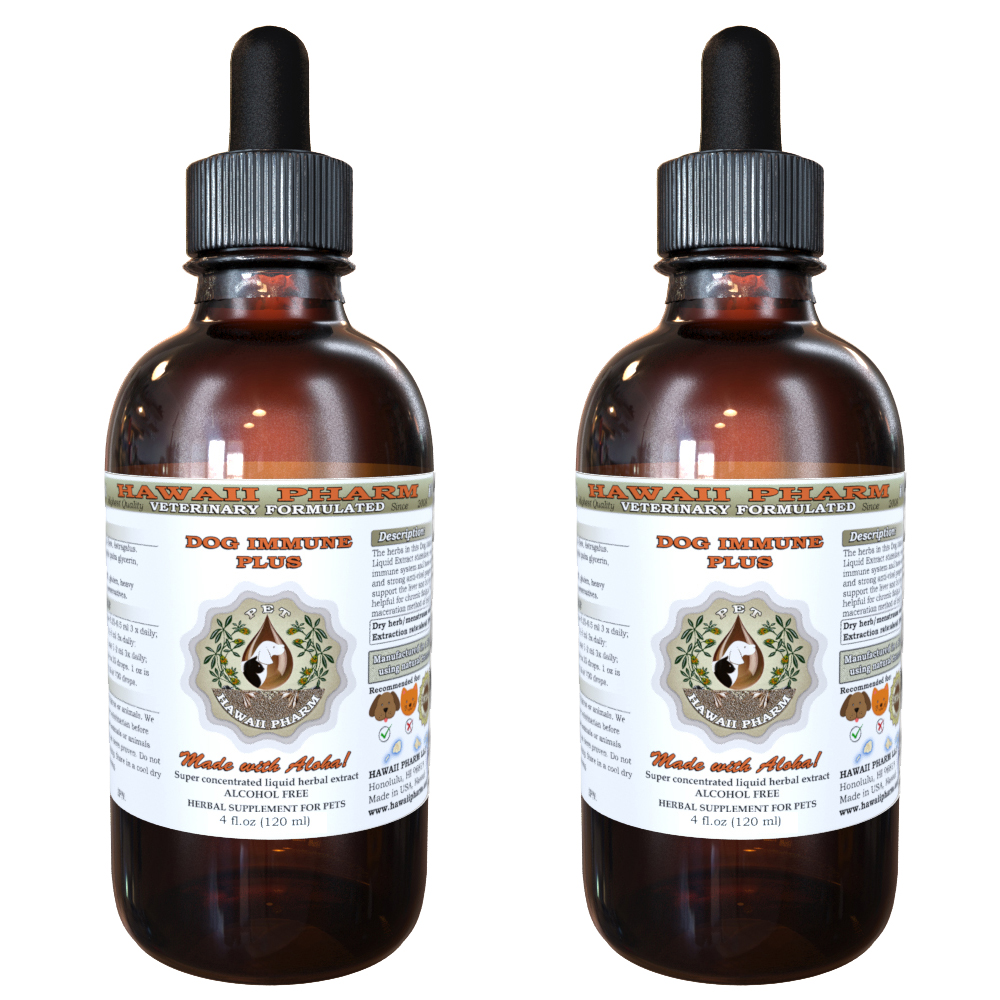 Dog Immune Plus, VETERINARY Natural Alcohol-FREE Liquid Extract, Pet Herbal Supplement 2x4 oz
