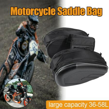 1 Pair Universal Motorcycle Saddle Bag Cross Rider Pannier Rear Side Bags Waterproof Black Iron Cross Saddlebags
