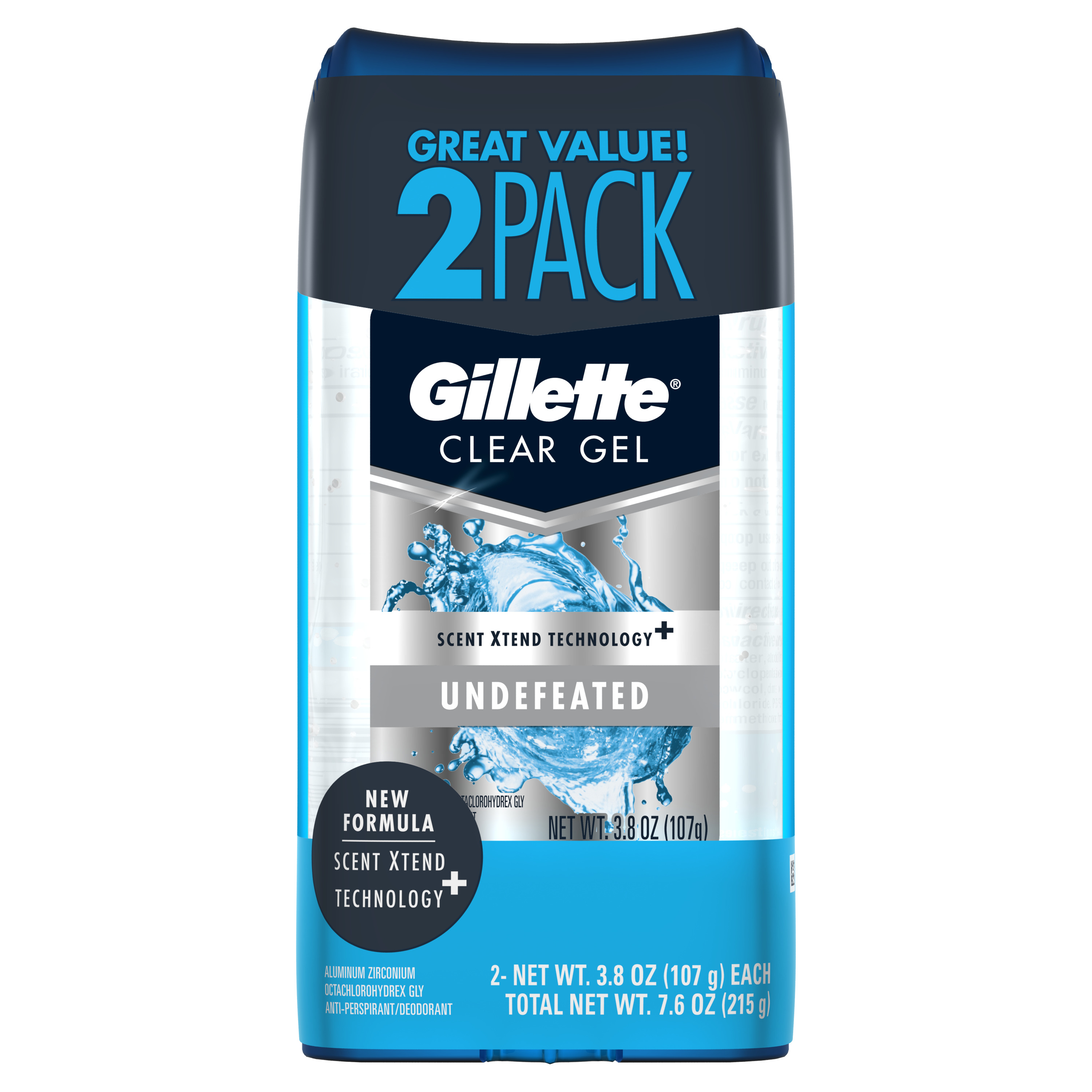 Gillette Undefeated Clear Gel Men's Antiperspirant and Deodorant 3.8 oz each 2-Pack