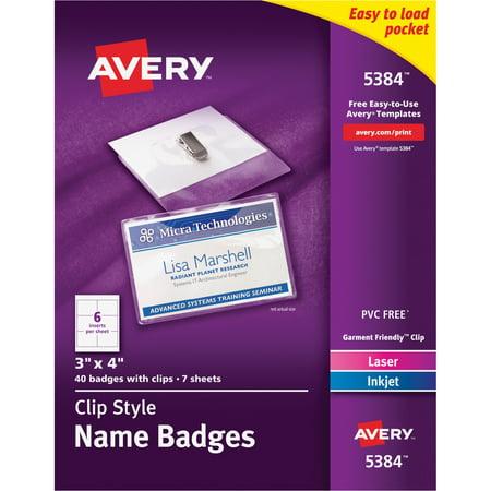 Avery Badge Holder Kit w/Laser/Inkjet Insert, Top Load, 3 x 4, White, 40/Box