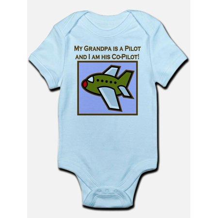 CafePress - Grandpa's Co-Pilot Airplane Infant Bodysuit - Baby Light Bodysuit