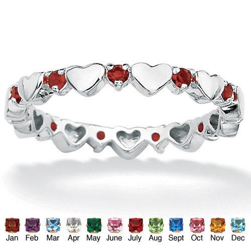 Palm Beach Jewelry Birthstone Heart Eternity Band