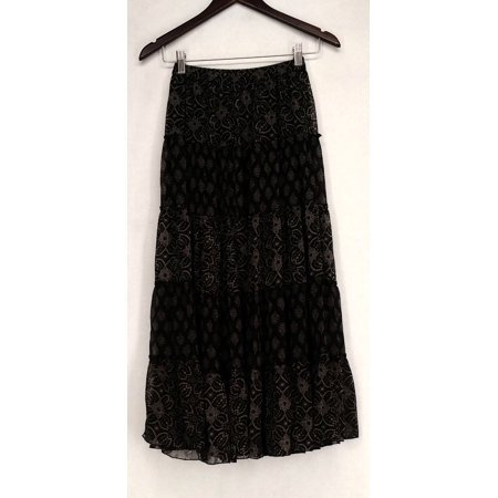 Linea by Louis Dell'Olio Sz XXS Printed Tiered Maxi Black Skirt A199793