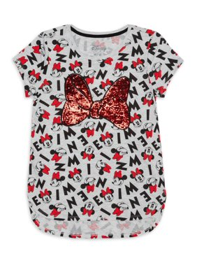 Minnie Mouse Girls Sequin Bow T-Shirt, Sizes 4-16