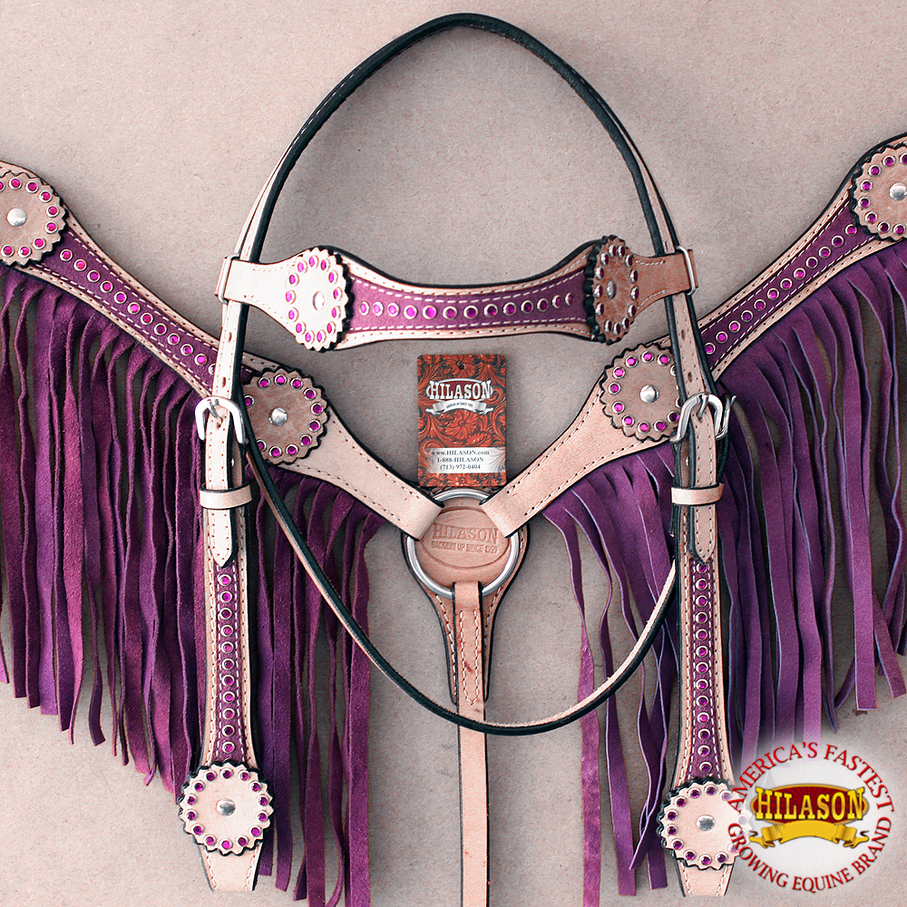 HILASON WESTERN AMERICAN LEATHER HORSE HEADSTALL BREAST COLLAR TAN PURPLE
