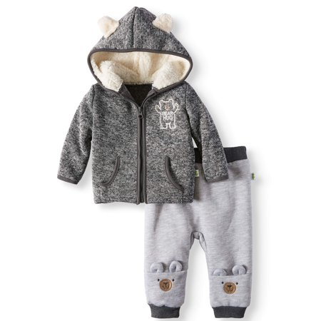 Fleece Baby Fleece Vest - Baby Boys' Bear Ear Fleece Hoodie and Joggers, 2-Piece Outfit Set