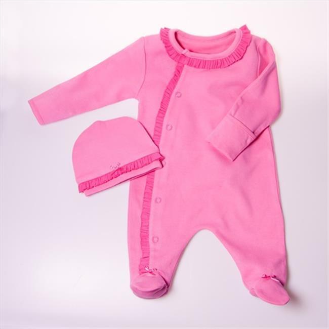 Little Ashkim BGRF03 Ruffle Footie - Pink, 0-3 months