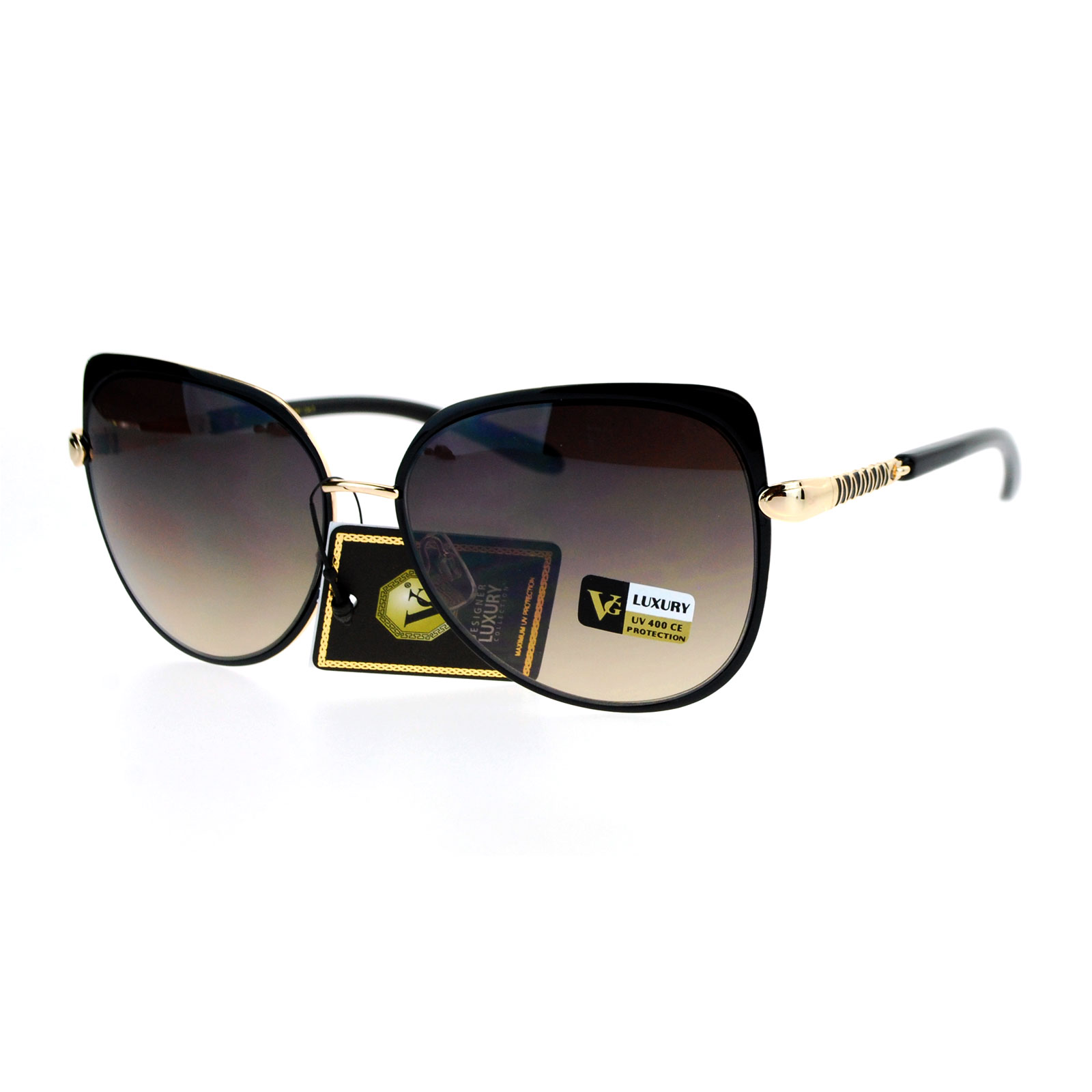 10577fa4628 SA106 - SA106 Luxury Designer Womens Butterfly Metal Diva Sunglasses Black  Gold - Walmart.com