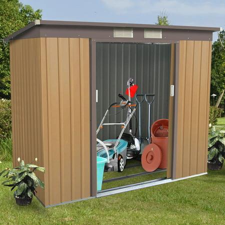 Gymax Outdoor Garden Storage Shed Tool House Sliding Door Metal Frame Khaki