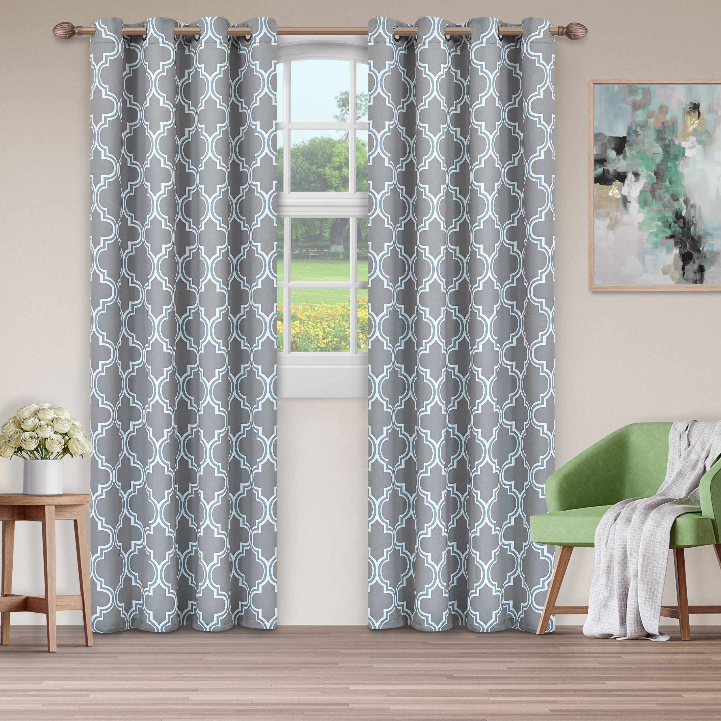 Superior Soft Quality Woven, Bohemian Trellis Blackout Thermal Grommet Curtain Panel Pair