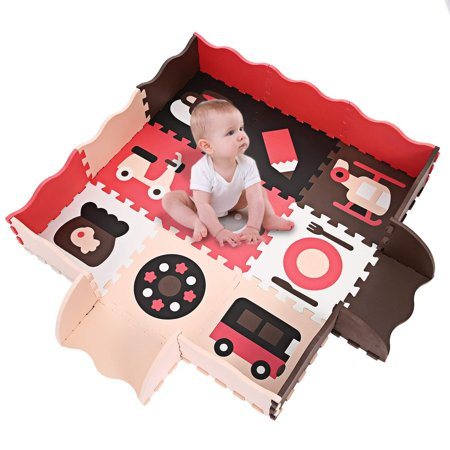 Margot Non-Toxic Large Extra Thick with Gate Fence Baby Crawling Play Mat Kids Play Puzzle Mat Foam Floor 25Pcs, US STOCK