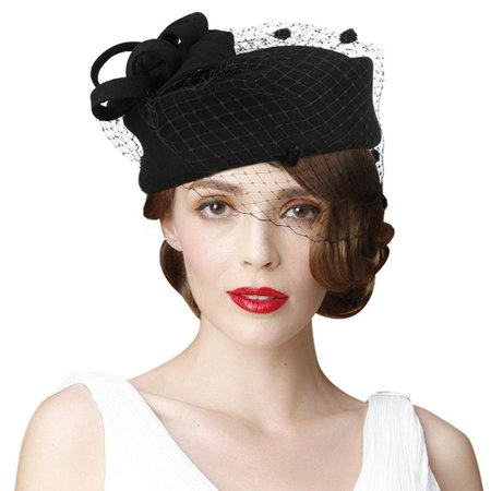 f93e0e864f5 VBIGER Women Fascinator Hats Derby Wedding Hats Vintage Hat Pillbox Hat  Woollen Felt Hat Bow Veil Party Hat for Women - Walmart.com
