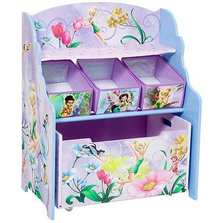 Disney - Tinker Bell Fairies 3-Tier Toy Organizer with Rollout Toy Box - Disney - Tinker Bell Fairies 3-Tier Toy Organizer With Rollout Toy