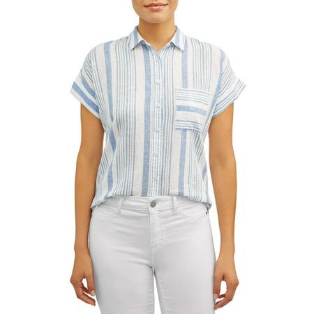 Women's Cap Sleeve Linen Blend Top