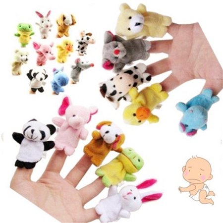 10Pcs/set Velvet Cute Cartoon Animal Finger Puppets Plush Toys Zoo Farm Dolls Props Educational Toys for Children Bed Story Telling Toy Finger Puppet Plush Toy