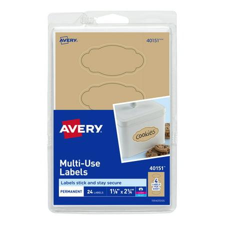 Avery Oval Scroll Labels, Kraft Brown, 1-1/8