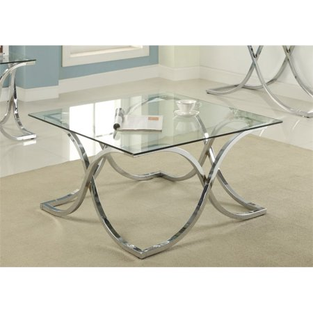 Furniture of America Sarif Square Glass Top Coffee Table in Chrome ()