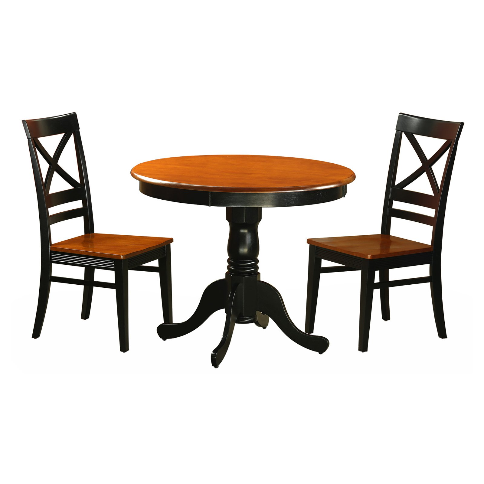 East West Furniture Antique 3 Piece Pedestal Dining Table Set with Quincy Wooden Seat Chairs