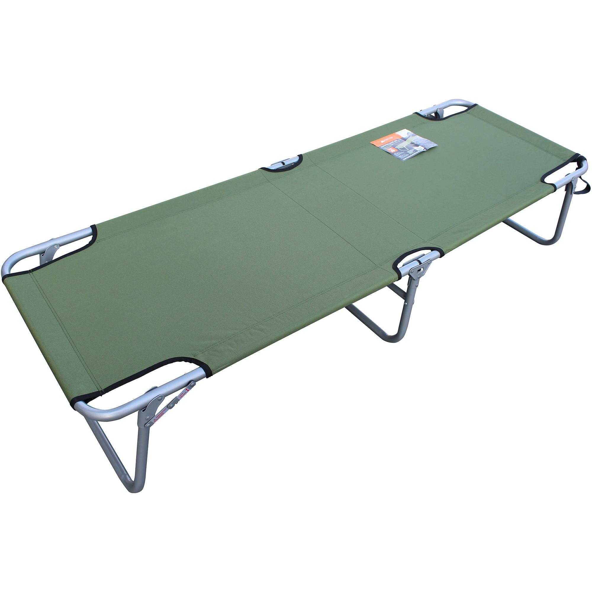 Single Folding Camp Bed LightWeight Portable Green Steel Frame