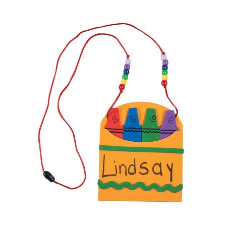 IN-48/5288 Back-To-School Name Tag Necklace Craft Kit Makes 12