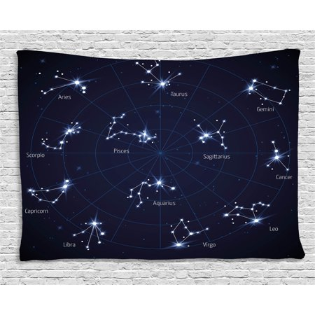Constellation Tapestry, Sky Star Map with Geometric Circle Space Night Horoscopes Chart Dark, Wall Hanging for Bedroom Living Room Dorm Decor, 80W X 60L Inches, Dark Blue White, by Ambesonne Navy Chart Map