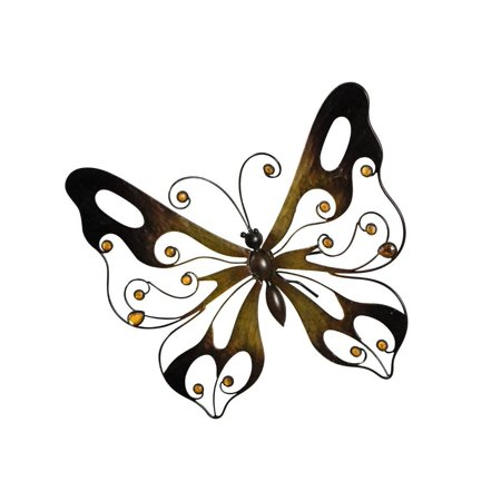Metal Butterfly Wall Decor - Warm Brown Wall Art with Glass (Pearl Glass Wall)