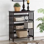 Roundhill Wooden 3 Shelves Bookcase, Espresso Finish
