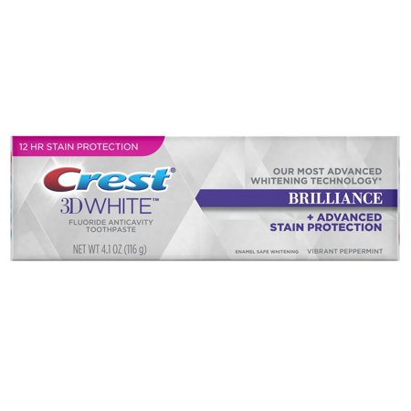 Crest 3D White Brilliance Advanced Whitening Technology + Advanced Stain Protection Toothpaste, Vibrant Peppermint, 4.1