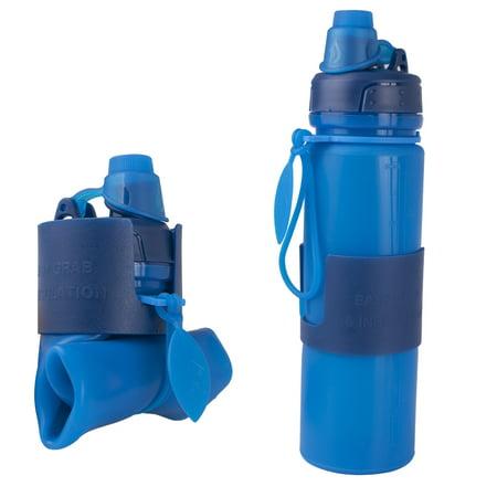 Silicone Water Bottle Foldable Collapsible Anti Leakage, Leak Proof Twist Cap, BPA Free FDA Approved Foldable Water Bottle for Sport, 17oz/500ml, Blue - image 7 de 7