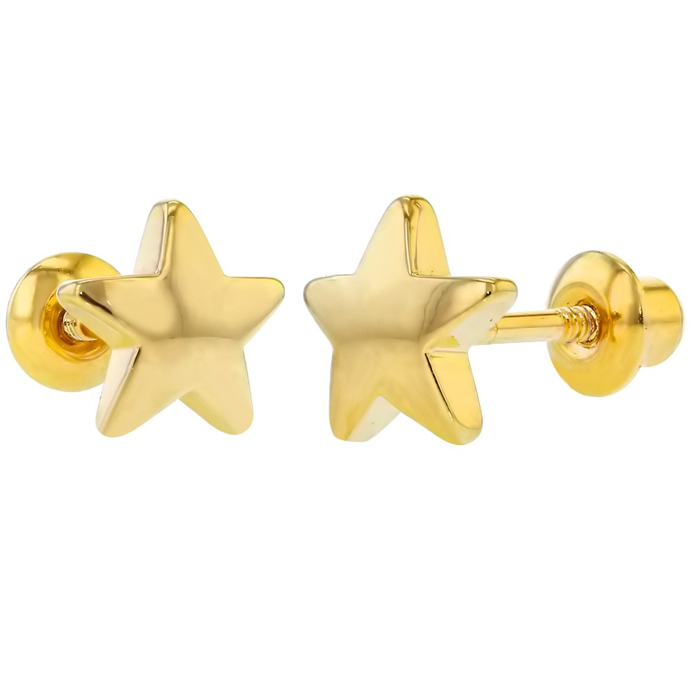 18k Yellow Gold Plated Little Plain Star Back Toddler S Earrings 6mm
