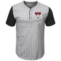 Arizona Diamondbacks Majestic Life Or Death Pinstripe Henley T-Shirt - Gray/Black