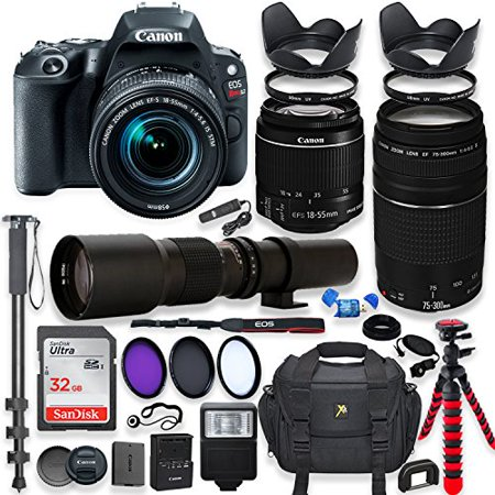 Canon EOS Rebel SL2 DSLR Camera with 18-55mm STM Lens Bundle + Canon EF 75-300mm f/4-5.6 III Lens and 500mm Preset Lens + 32GB Memory + Filters + Monopod + Spider Tripod + Professional