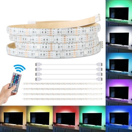 Bias lighting fo HDTV Exgreem Neon Accent LED Strips Bias Backlight RGB Lights with Remote Control for HDTV, Flat Screen TV Accessories and Desktop PC, Multi Color