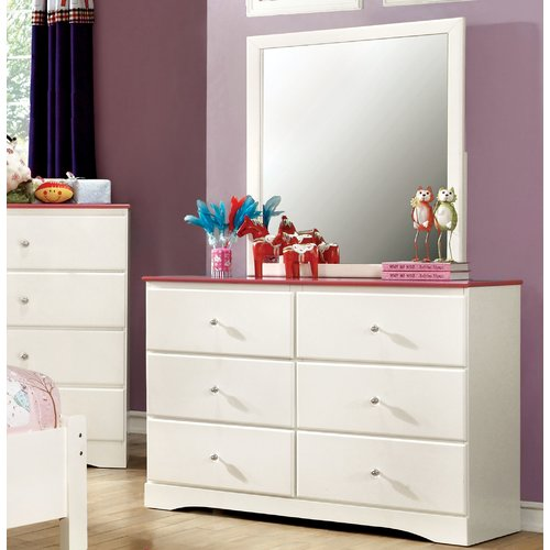 Zoomie Kids Cristina 6 Drawer Dresser with Mirror