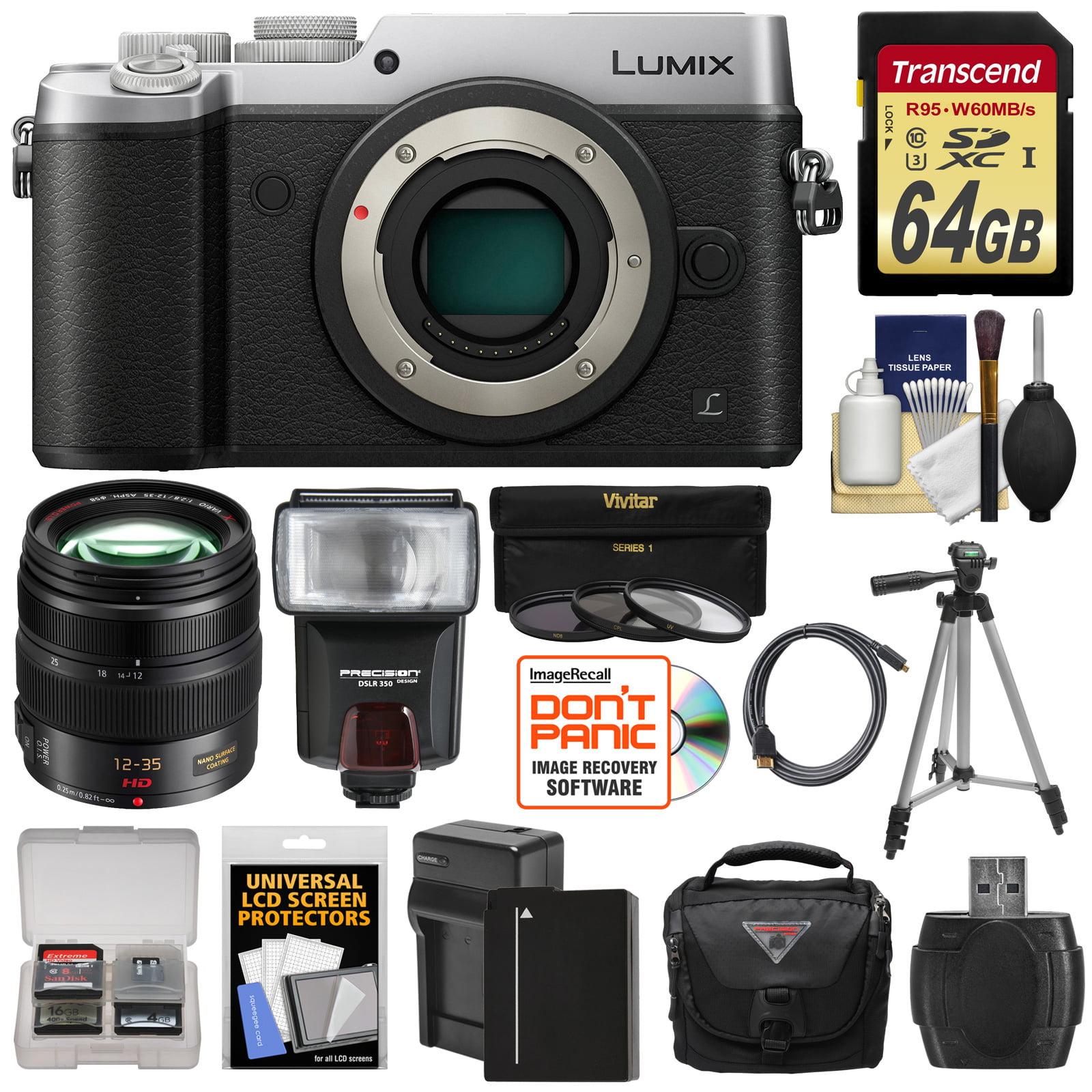 Panasonic Lumix DMC-GX8 4K Wi-Fi Digital Camera Body (Silver) with 12-35mm f 2.8 OIS Lens + 64GB Card +... by Panasonic