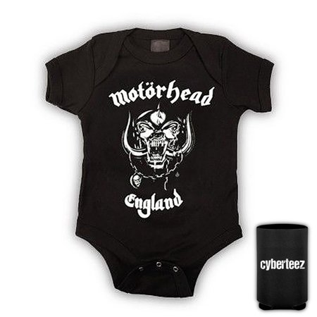 Motorhead T-Shirt England Kids Infant Childrens Onesie + Coolie (S-6mo)](Childrens Leopard Print Onesie)
