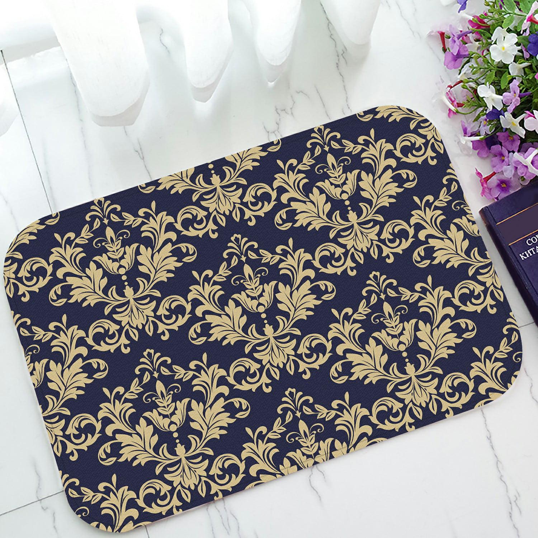 Abphqto Floral Baroque Damask Gold Black Blue Ornament Doormat Entrance Rug Area Rug Floor Mat Home Decor 23 5x16 7 Inch Walmart Com Walmart Com
