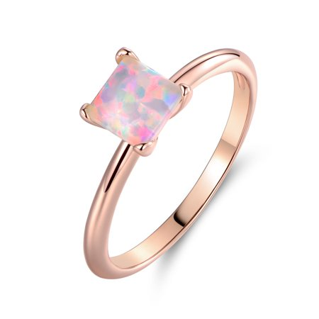 18K Rose Gold Plated Princess-Cut White Fire Opal Solitaire Engagement (Created White Opal Solitaire)