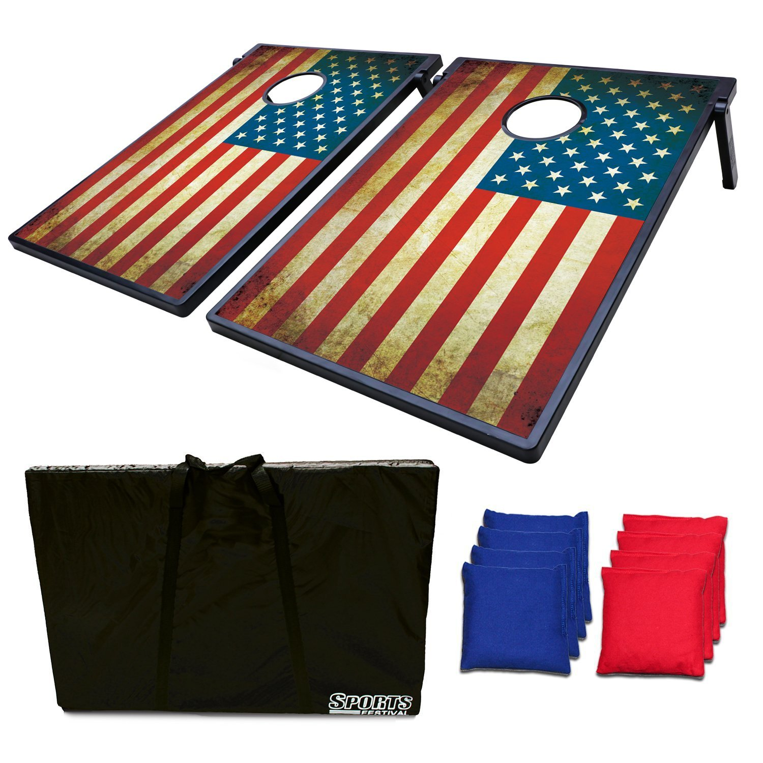 2-in-1 Cornhole Beanbag Toss Game and Tic Tac Toe Antique US Flag by Phelps Group